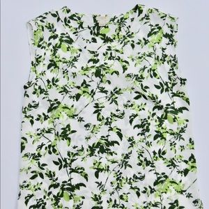 J. Crew Green White Leaf Print Blouse Sz Small